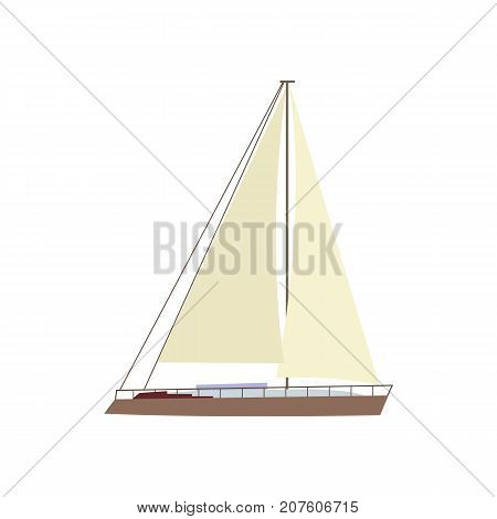 Flat style sailing ship, boat, sailboat icon, symbol, decoration element, vector illustration isolated on white background. Flat cartoon vector illustration of litttle yacht, sailing ship, sailboat