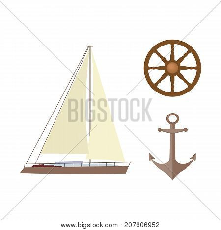 vecotr flat cartoon nautical, marine symbols set. Sailing yacht with big white sails, anchor and wooden ship steering wheel, handwheel icons. Isolated illustration on a white background.