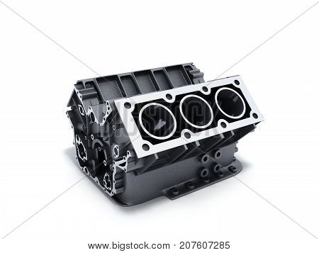 Cylinder Block From Car With V6 Engine 3D Render On A White Background