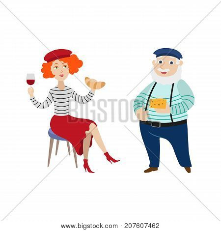 French people, characters eating cheese and croissant, drinking wine, symbols of France, cartoon vector illustration isolated on white background. Typical, stereotypical French people and food