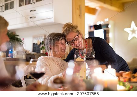Beautiful big family sitting at the table celebrating Christmas together at home. Senior woman and her granddaughter clinking glasses of red wine.