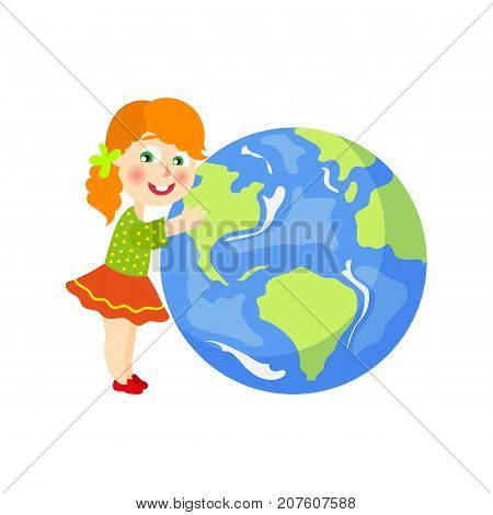 Vector save the planet concept. Flat cartoon happy red hair girl kidin skirt hugging earth globe planet. Isolated illustration on a white background.