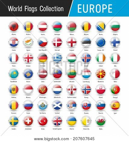 Set Of European Flags - Vector Round Icons