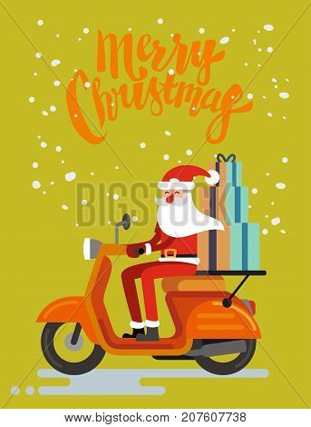 Santa Claus riding scooter on orange background. Vector