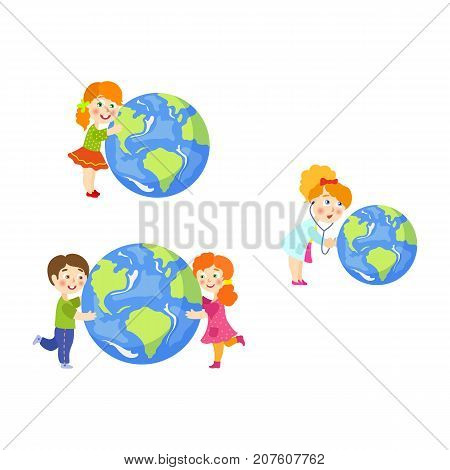 Vector children saving earth planet concept set. Flat cartoon happy girl, boy hugging earth globe planet, young doctor holding stethoscope examining lungs. Isolated illustration on a white background.