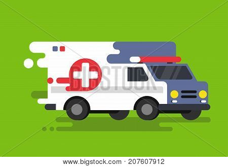Emergency ambulance car in flat style. Vector illustration
