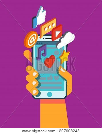 Hand hold smartphone with mobile applications. Vector illustration
