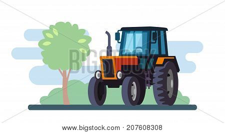 Red tractor on landscape in flat design. Vector