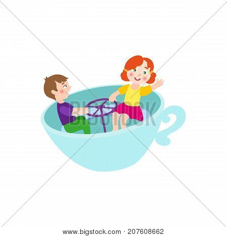 vector flat children in amusement park concept. Boy and girl kids having fun sitting in rotating chair cup or playing rocking cups. Isolated illustration on a white background.