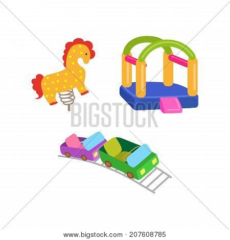vector flat amusement park objects icon set. Spring seesaw horse, roller coaster and inflatable bouncy playground castle. Isolated illustration on a white background.