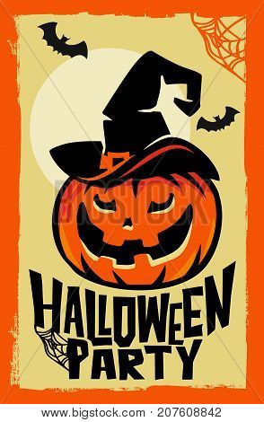 Vector halloween pumpkin with witch hat. Party poster