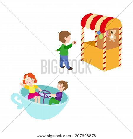 vector flat children in amusement park set. Boy in Shooting gallery with bear, rabbit toys - awards, kid spinning at tea cup carousel. Isolated illustration on a white background.