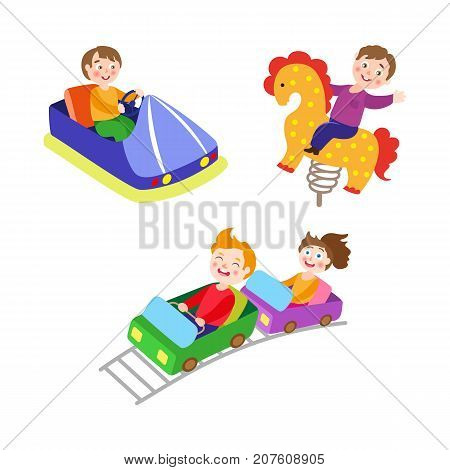 vector flat kids in amusement park set. Boys riding at spring horse seesaw and bumper car, kids riding at roller coaster. Isolated illustration on a white background
