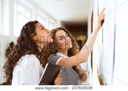 Two attractive teenage girls in high school hall during break reading something on notice board.
