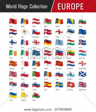 Set Of European Flags - Vector Illustrations