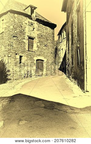 Narrow Street in a Small Medieval French City Stylized Photo