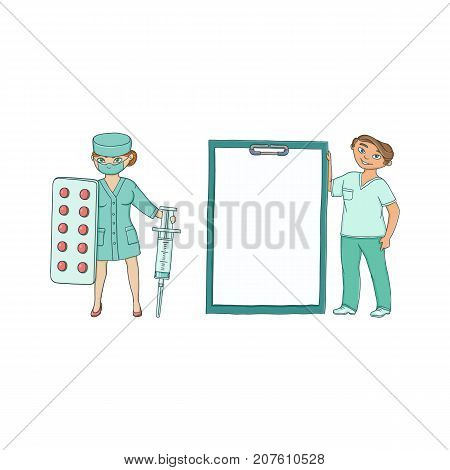 Two doctors - with giant syringe and blister of pills and medical card, flat cartoon vector illustration isolated on white background. Cartoon woman doctors with giant syringe, pills and medical chart