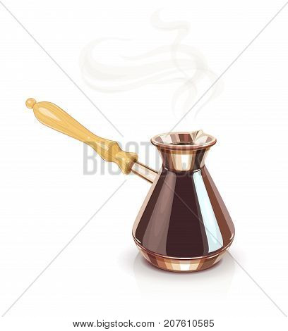 Turkish Coffee pot with handle. Equipment for cooking aromatic beverage. Copper cezve. isolated white background. Eps10 vector illustration.