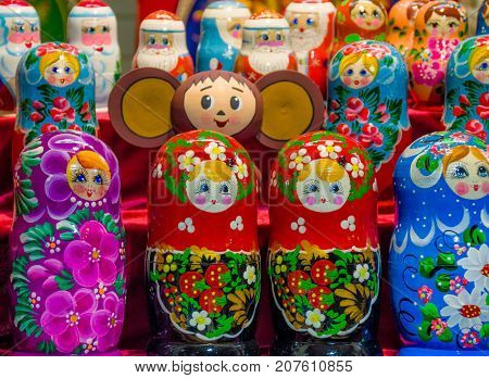 Painted Russian dolls in the shop window Russian dolls in the shop window