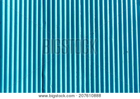 Blue corrugated metal sheet background and texture surface