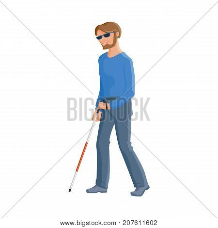 Young blind Caucasian man in dark glasses with a walking cane, flat cartoon vector illustration isolated on white background. Flat cartoon blind man walking with a stick, blindness disability concept