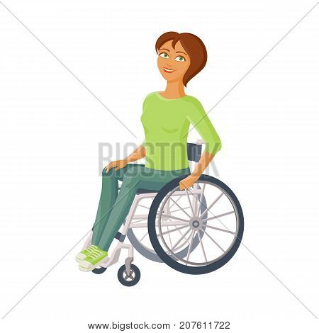 Young beautiful woman sitting in wheelchair, flat cartoon vector illustration isolated on white background. Happy woman sitting in wheelchair, living with disability, equal opportunities concept