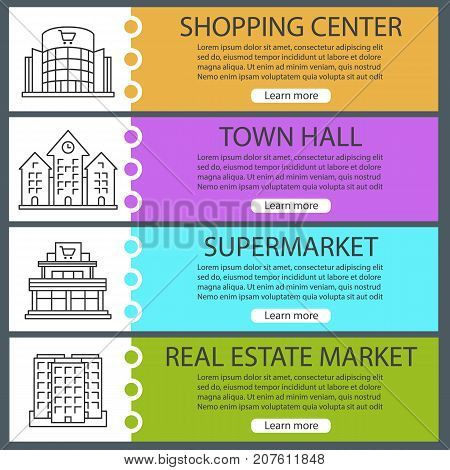 City buildings web banner templates set. Shopping mall, town hall, supermarket, multi-storey building. Website color menu items with linear icons. Vector headers design concepts