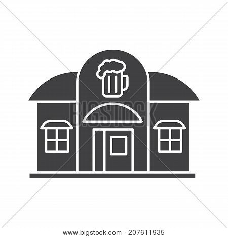 Alehouse, beerhouse glyph icon. Silhouette symbol. Pub. Negative space. Vector isolated illustration