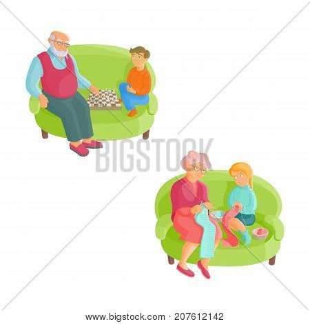 Grandmother teaching granddaughter to knit, grandfather playing chess with grandson, flat cartoon vector illustration isolated on white background. Grandparents spending time with grandchildren