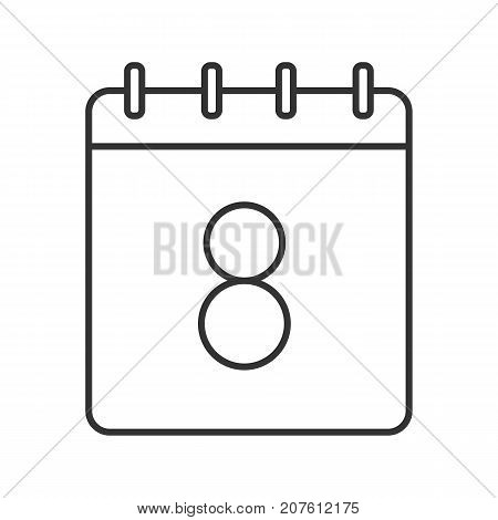 Eighth day of month linear icon. Wall calendar with 8 sign. Thin line illustration. Date contour symbol. Vector isolated outline drawing