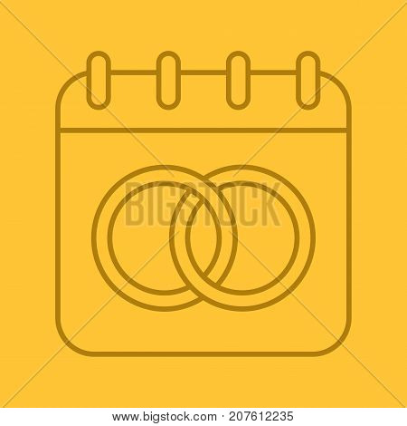 Wedding day linear icon. Nuptial calendar. Thin line illustration. Calendar page with interlocked wedding rings. Thin line outline symbols on color background. Vector illustration