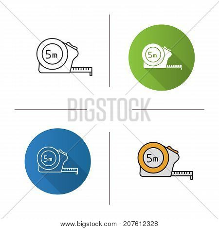 Measuring tape icon. Flat design, linear and color styles. Roulette meter. Isolated vector illustrations