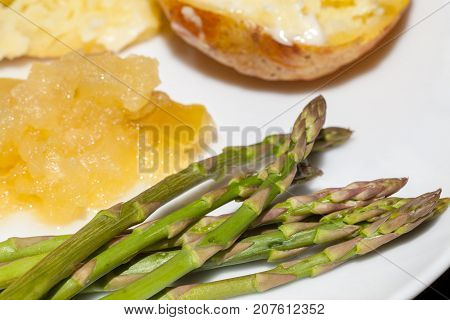 Fine tip asparagus. Organic nutritional vegetable served with meal. Healthy diet food.