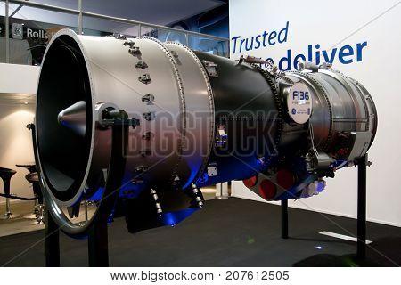 Changi, Singapore - Feb 6,2010 : GE Rolls-Royce F-136 engine display in Singapore Air Show 2010