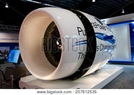 Changi, Singapore - Feb 6,2010 : Pratt & Whitney Jet engine display in Singapore Air Show 2010