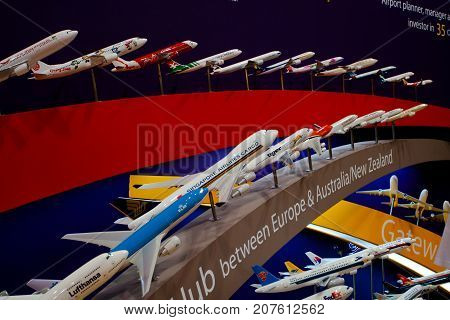 Changi, Singapore - Feb 6,2010 : Variety of aircraft airline show models in Singapore Air Show 2010