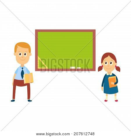 School girl and boy answering a lesson standing at blackboard in classroom, cartoon vector illustration isolated on white background. Girl, boy answering at lesson, back to school, learning concept
