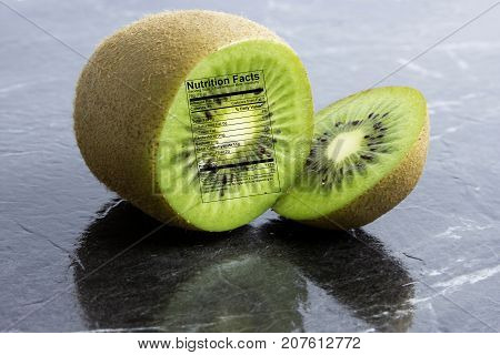 Kiwi Fruit With Nutrition Label