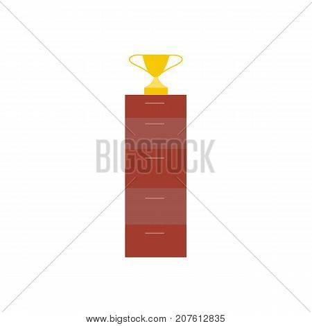 Flat style icon of golden winner cup, trophy, award, home interior, decoration object, vector illustration isolated on white background. Flat style golden cup, winner award decoration object