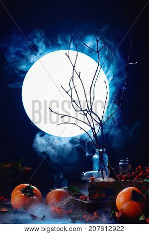 Tree Branches Silhouette In Full Moon. Spooky Halloween Concept With Autumn Fruits, Berries, Magical
