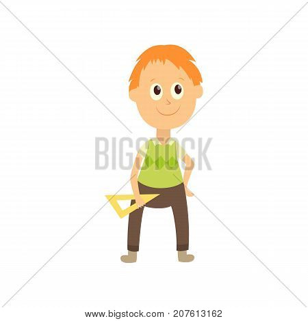 vector flat cartoon male character - cute boy pupil, schoolkid standing smiling holding triangle in hands. Isolated illustration on a white background.
