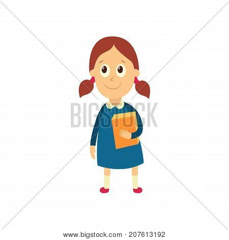 vector flat cartoon female character - cute girl pupil, schoolkid standing smiling holding books in hands. Isolated illustration on a white background.