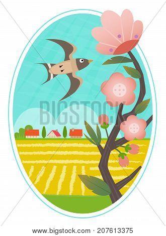 Decorative clip art of a bird flying over a rural landscape. Eps10