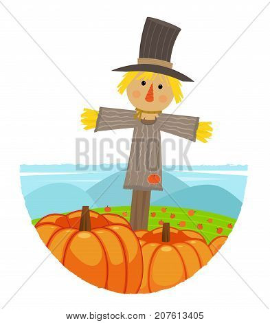 Clip-art of a scarecrow standing in a pumpkin field. Eps10