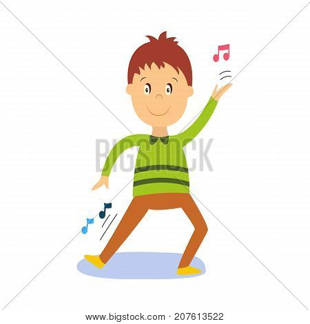 vector flat cartoon boy child dancing alone in green pullover smiling. Little dancer male character. Isolated illustration on a white background. Kids party concept