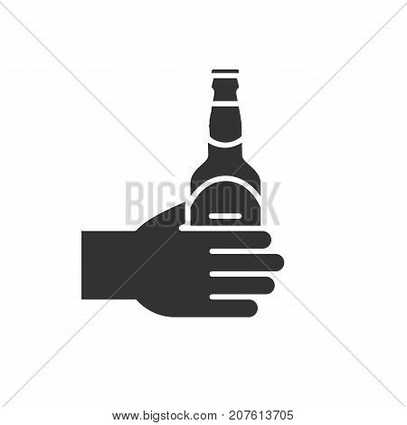 Hand with beer bottle glyph icon. Silhouette symbol. Negative space. Vector isolated illustration