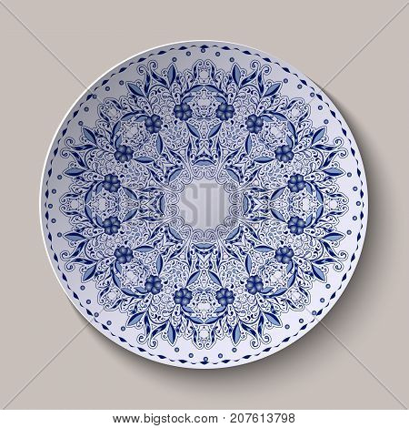 Round blue lacy delicate floral pattern. Stylized Chinese style painting on porcelain. The ornament shown on the ceramic dish. Vector illustration.