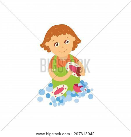 vector flat cartoon girl kid washing dishes standing in apron smiling. Isolated illustration on a white background. Daily routine concept