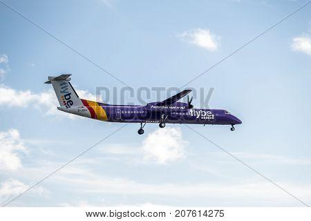 DUESSELDORF , GERMANY - OCTOBER 05 2017: Airline Flybe Bombadier Dash 8 Q400 landing at Dusseldorf Airport