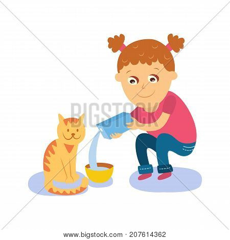 Little girl pouring milk into bowl, feeding her cat, kitten, flat cartoon vector illustration isolated on white background. Flat cartoon girl feeding her cat, pouring milk into bowl